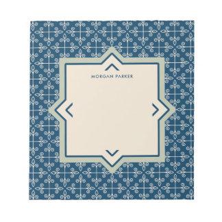 Modern Elegant Blue and Blush Pattern Notepads