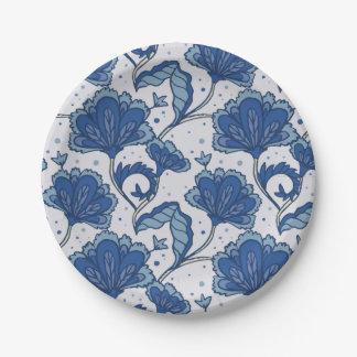 Modern Elegant blue batik pattern 7 Inch Paper Plate