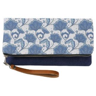 Modern Elegant blue batik pattern Clutch