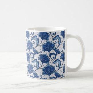 Modern Elegant blue batik pattern Coffee Mug