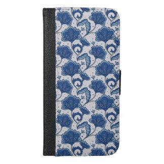 Modern Elegant blue batik pattern iPhone 6/6s Plus Wallet Case