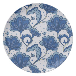Modern Elegant blue batik pattern Plate