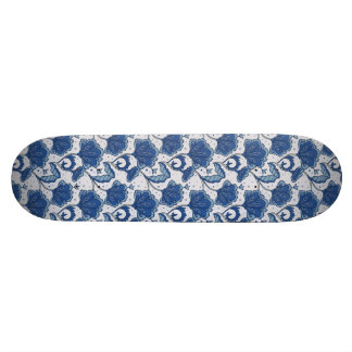 Modern Elegant blue batik pattern Skate Board