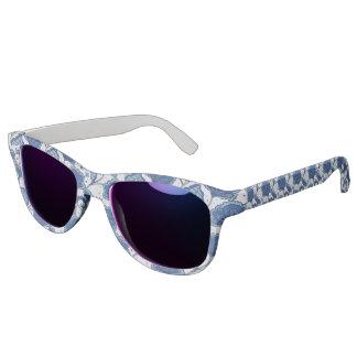 Modern Elegant blue batik pattern Sunglasses