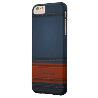 Modern Elegant Blue Leather Look Name Texture Barely There iPhone 6 Plus Case