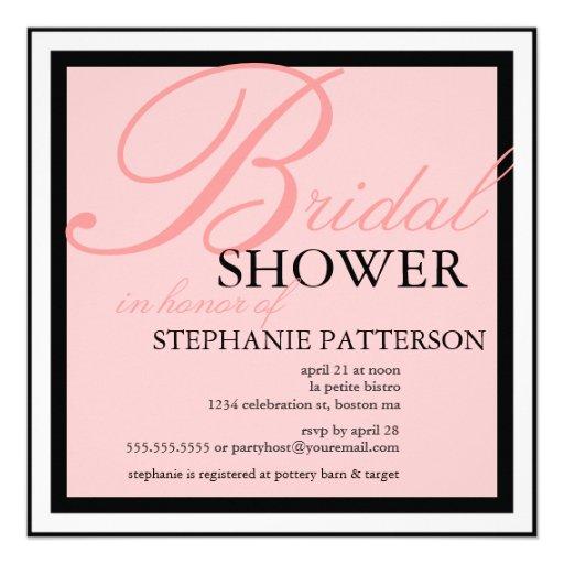 Modern & Elegant Bridal Shower in Pink Invitation