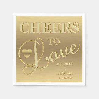 Modern & Elegant CHEERS TO LOVE Heart Gold Wedding Paper Napkins