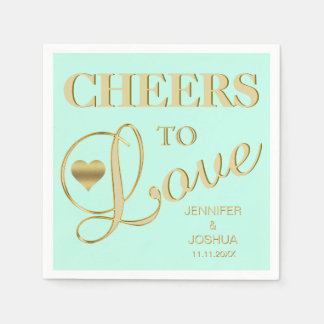 Modern & Elegant CHEERS TO LOVE MINT Gold Wedding Napkin