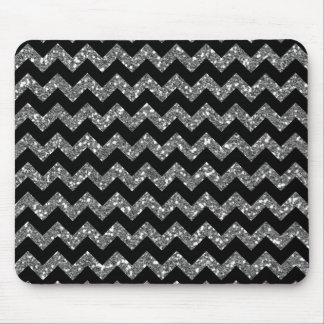 Modern Elegant Chevrons on Black Mouse Pad