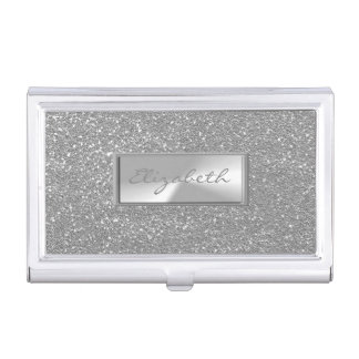 Modern Elegant Chic Girly  Glittery Silver Business Card Holder