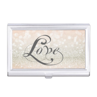 Modern Elegant Chic Glittery-Love Business Card Holder