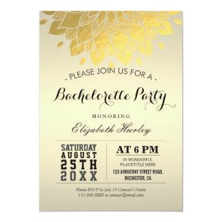 "Modern Elegant Chic Gold Floral Bachelorette Party 5"" X 7"" Invitation Card"