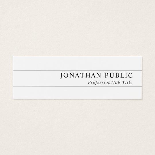 Modern Elegant Chic Sleek Plain White Trending Mini Business Card