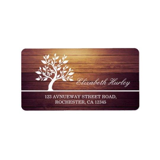 Modern Elegant Classy Tree Vintage Wood Background Label