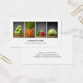 Modern Elegant Clean Nutrition Coach Chef Business Card