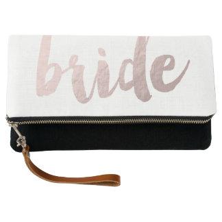 """modern elegant clear faux rose gold """"bride"""" clutch"""