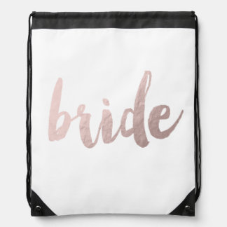 "modern elegant clear faux rose gold ""bride"" drawstring bag"