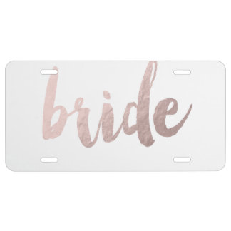 "modern elegant clear faux rose gold ""bride"" license plate"