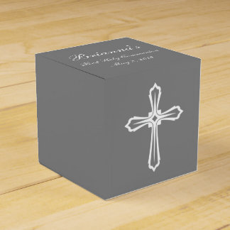 Modern Elegant Cross First Holy Communion Favor Favor Box