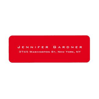 Modern Elegant Cute Stylish Bright Red Colored Return Address Label