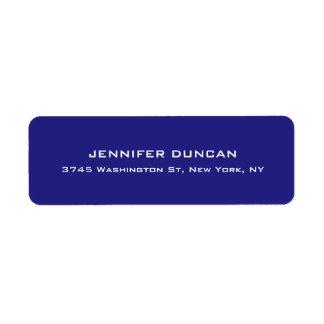 Modern Elegant Cute Unique Deep Blue Colored Return Address Label