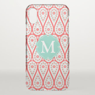 Modern Elegant Damask Coral Paisley Personalized iPhone X Case