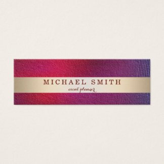 Modern Elegant Decorative Faux Gold Striped Mini Business Card
