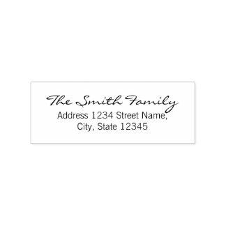 Modern Elegant Family Name Return Address Rubber Stamp
