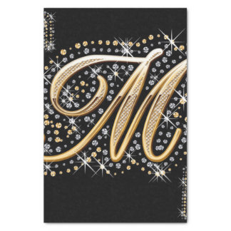 modern elegant fancy letter  M  monogram Tissue Paper