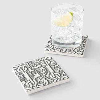 modern elegant fancy letter  N  monogram Stone Coaster
