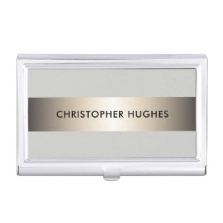 Modern Elegant Faux Copper Stripe Grey Consultant Business Card Holder