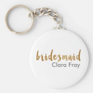modern elegant faux gold bridesmaid text keychain