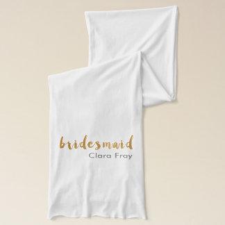 modern elegant faux gold bridesmaid text scarf