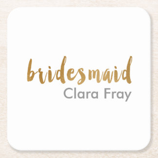 modern elegant faux gold bridesmaid text square paper coaster
