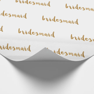 modern elegant faux gold bridesmaid text wrapping paper