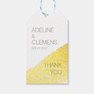 Modern Elegant Faux Gold Paint THANK YOU gift tag