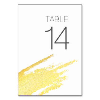 Modern Elegant Faux Gold Paint Wedding Table Card