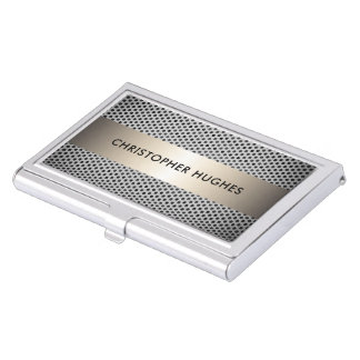 Modern Elegant Faux Metal Consultant Business Card Holder