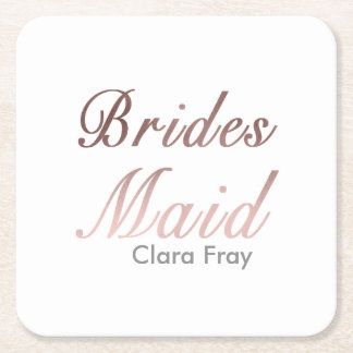 modern elegant faux rose gold bridesmaid square paper coaster