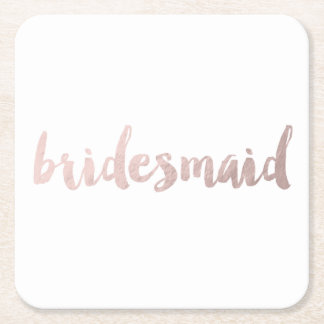 modern elegant faux rose gold bridesmaid text square paper coaster