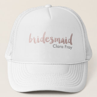 modern elegant faux rose gold bridesmaid text trucker hat