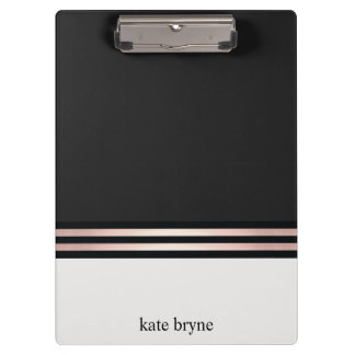 Modern Elegant Faux Rose Gold Foil Stripes Clipboard