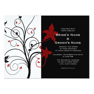 Modern Elegant Floral Black and Red Wedding Invite