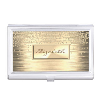 Modern Elegant  Girly , Faux Gold,Diamonds Business Card Holder