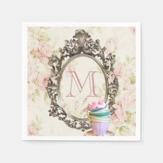 modern elegant girly floral vintage party monogram disposable napkins