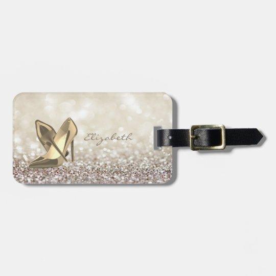 Modern Elegant Girly,  Glittery,Bokeh ,Heel Luggage Tag