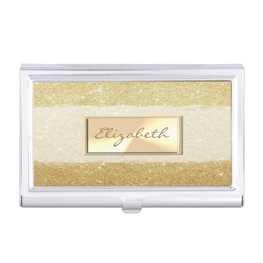 Modern Elegant  Girly , Glittery Faux Gold Case For Business Cards