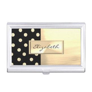 Modern Elegant  Girly , Glittery Polka Dots Business Card Holder