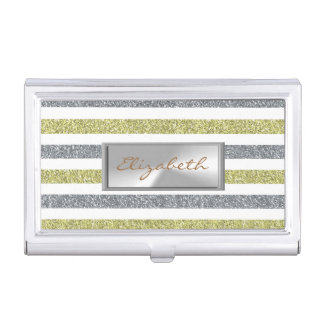 Modern Elegant  Girly , Glittery Striped Business Card Holder