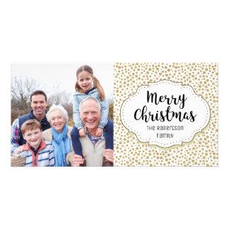Modern Elegant Gold Dots Christmas Photo Card